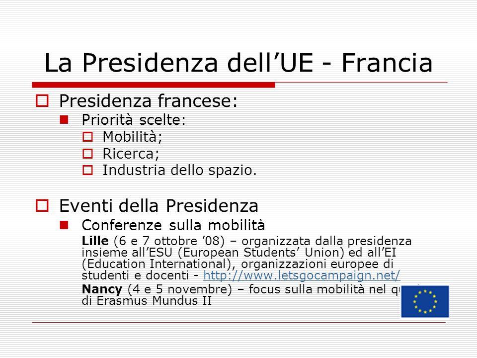 La Presidenza dellUE - Francia Presidenza francese: Priorità scelte: Mobilità; Ricerca; Industria dello spazio.