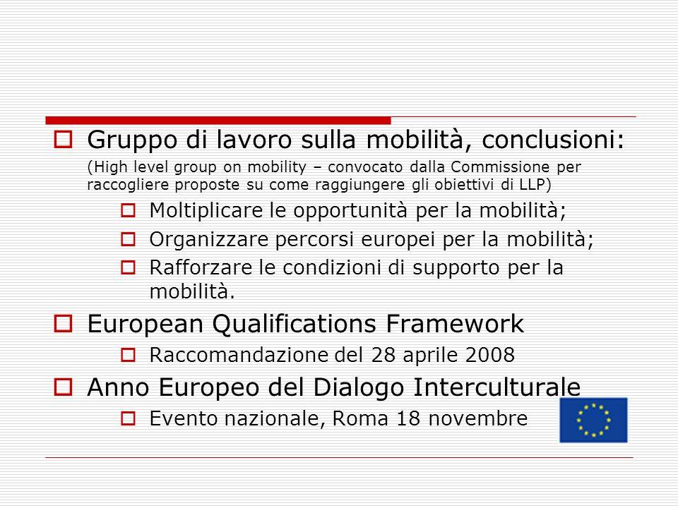 Gruppo di lavoro sulla mobilità, conclusioni: (High level group on mobility – convocato dalla Commissione per raccogliere proposte su come raggiungere gli obiettivi di LLP) Moltiplicare le opportunità per la mobilità; Organizzare percorsi europei per la mobilità; Rafforzare le condizioni di supporto per la mobilità.
