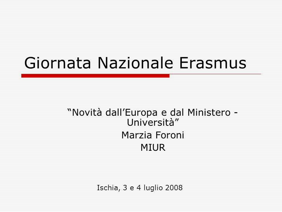 Giornata Nazionale Erasmus Novità dallEuropa e dal Ministero - Università Marzia Foroni MIUR Ischia, 3 e 4 luglio 2008