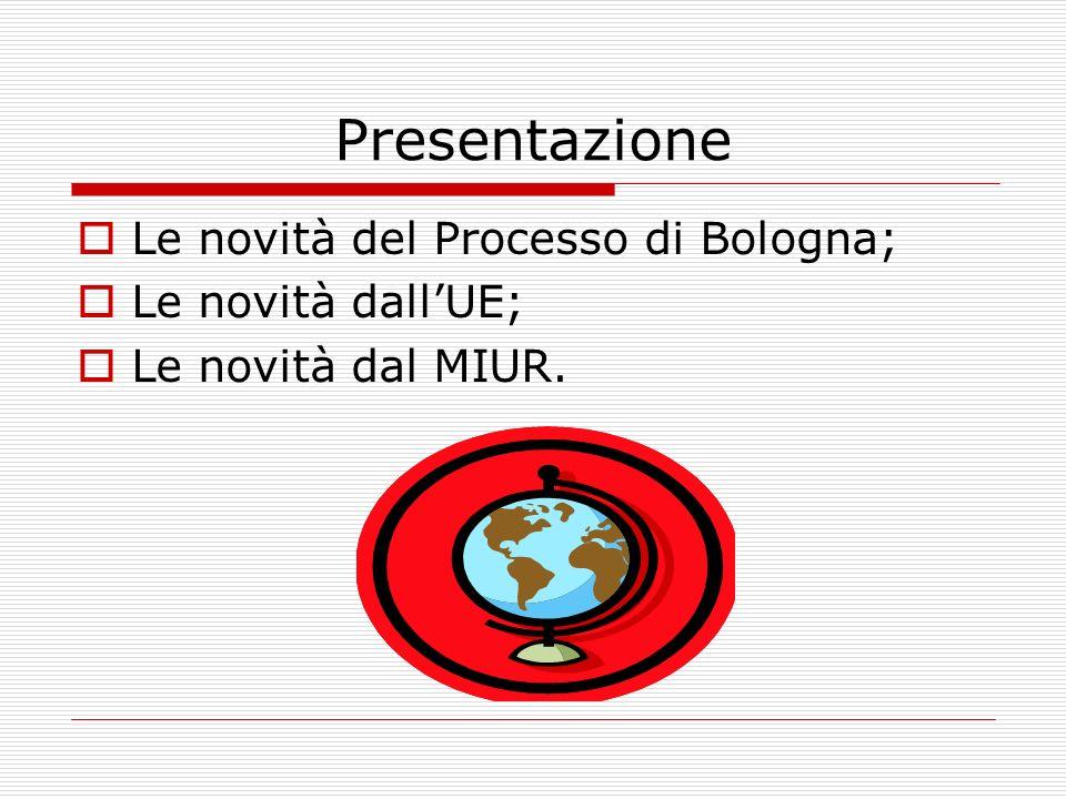 Presentazione Le novità del Processo di Bologna; Le novità dallUE; Le novità dal MIUR.