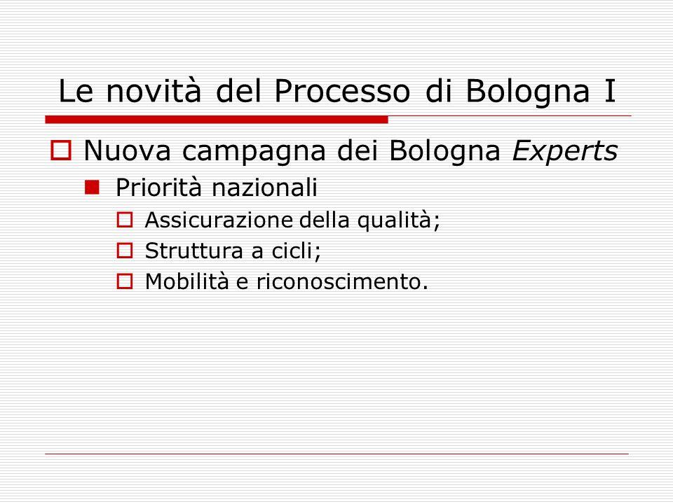 Le novità del Processo di Bologna I Nuova campagna dei Bologna Experts Priorità nazionali Assicurazione della qualità; Struttura a cicli; Mobilità e riconoscimento.