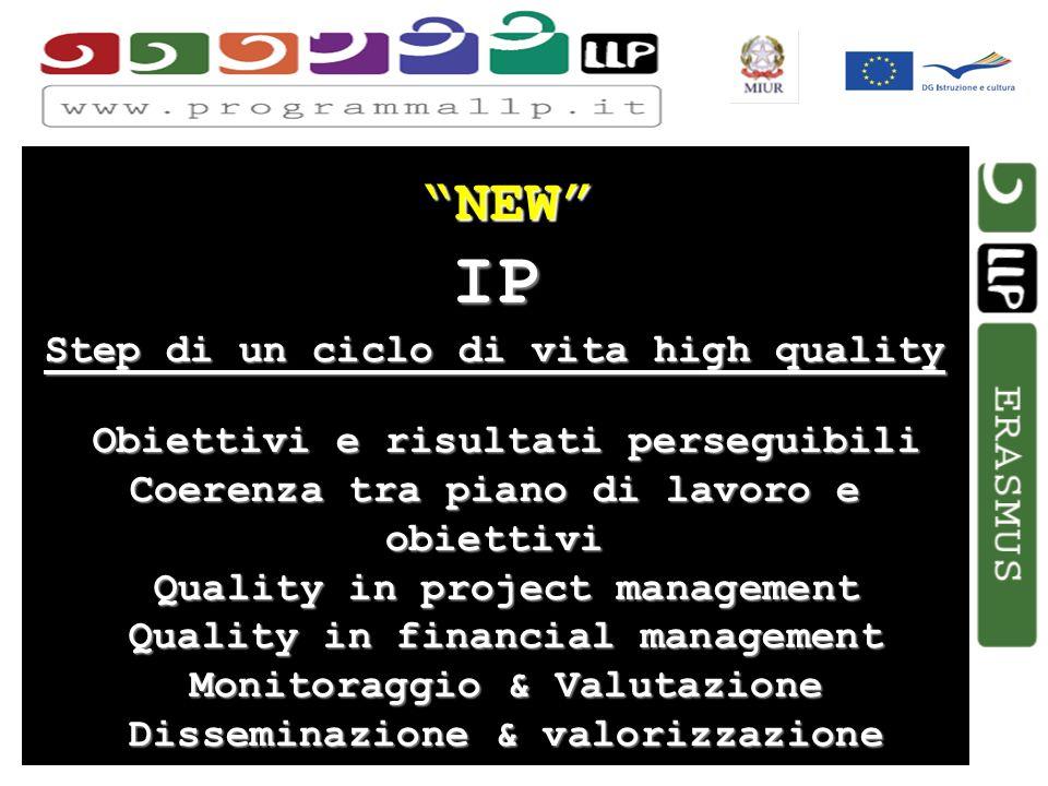 Simona Aceto NEW IP Step di un ciclo di vita high quality Obiettivi e risultati perseguibili Coerenza tra piano di lavoro e obiettivi Quality in proje