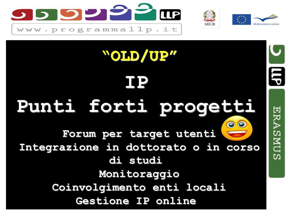 Simona Aceto OLD/UP IP Punti forti progetti Forum per target utenti Forum per target utenti Integrazione in dottorato o in corso di studi Integrazione