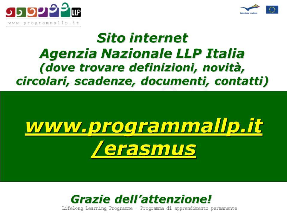 Sito internet Agenzia Nazionale LLP Italia (dove trovare definizioni, novità, circolari, scadenze, documenti, contatti) www.programmallp.it /erasmus Grazie dellattenzione!