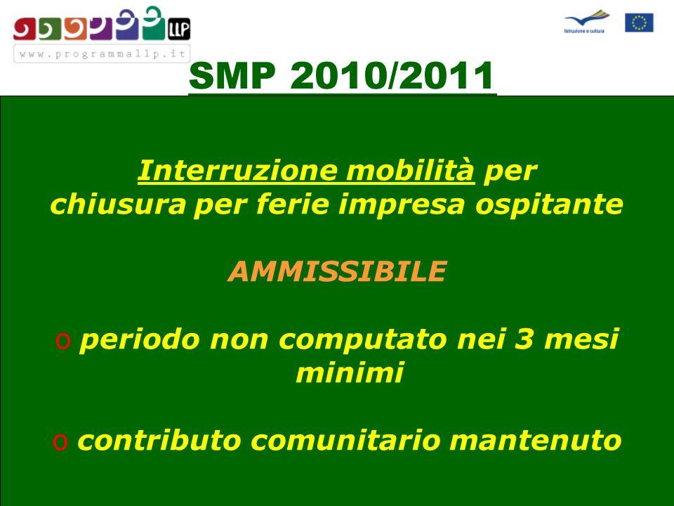 SMP 2010/2011 Periodo eleggibile 1 giugno 201030 settembre 2011 Eccezione termine ultimo: 31 ottobre 2011 SOLO con inizio prima del 1 giugno 2011