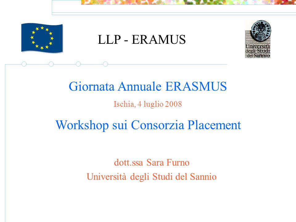 LLP - ERAMUS Giornata Annuale ERASMUS Ischia, 4 luglio 2008 Workshop sui Consorzia Placement dott.ssa Sara Furno Università degli Studi del Sannio