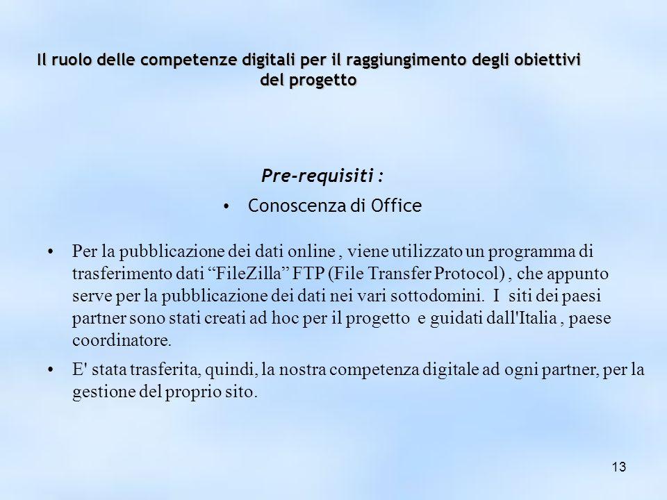 Il ruolo delle competenze digitali per il raggiungimento degli obiettivi del progetto Pre-requisiti : Conoscenza di Office 13 Per la pubblicazione dei dati online, viene utilizzato un programma di trasferimento dati FileZilla FTP (File Transfer Protocol), che appunto serve per la pubblicazione dei dati nei vari sottodomini.