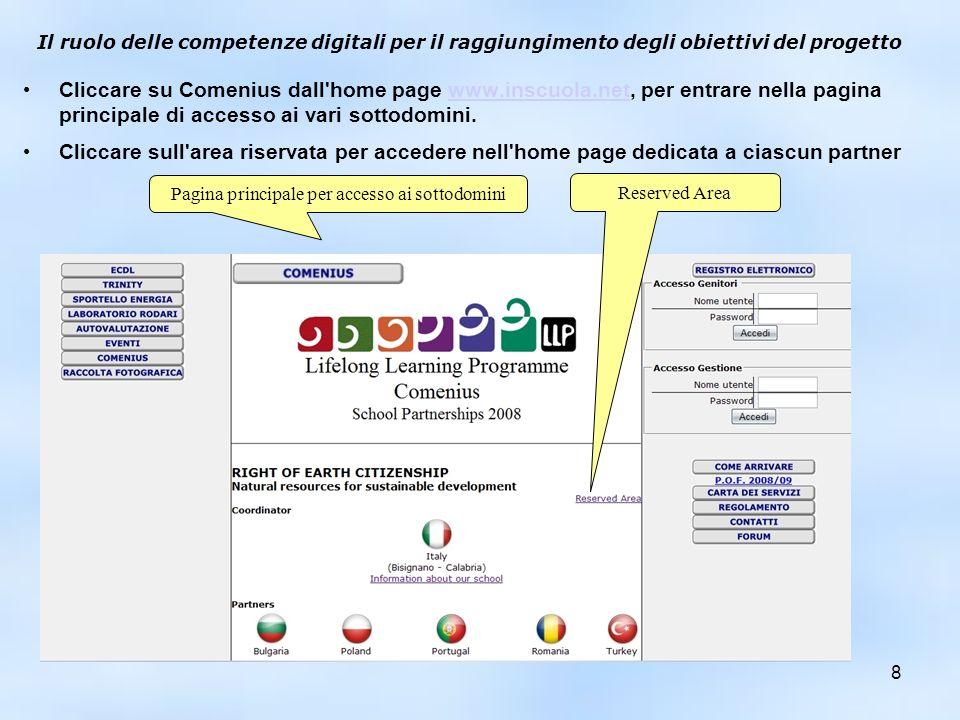 Il ruolo delle competenze digitali per il raggiungimento degli obiettivi del progetto Cliccare su Comenius dall'home page www.inscuola.net, per entrar