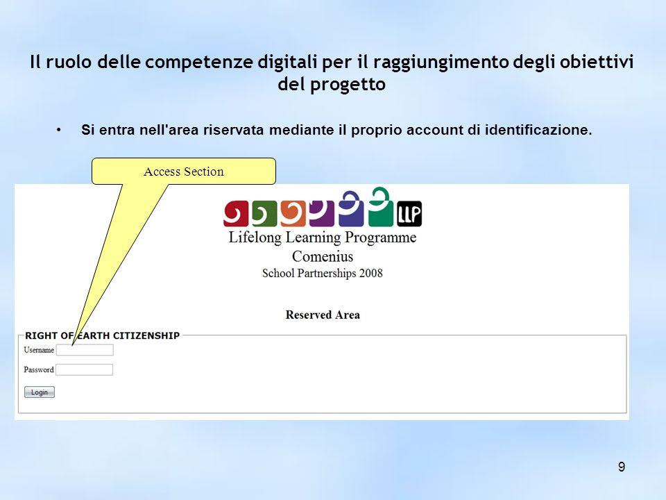 Il ruolo delle competenze digitali per il raggiungimento degli obiettivi del progetto Si entra nell area riservata mediante il proprio account di identificazione.