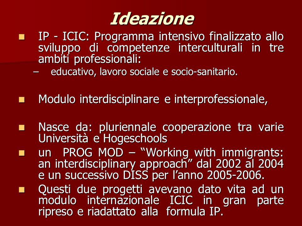 Ideazione IP - ICIC: Programma intensivo finalizzato allo sviluppo di competenze interculturali in tre ambiti professionali: IP - ICIC: Programma intensivo finalizzato allo sviluppo di competenze interculturali in tre ambiti professionali: –educativo, lavoro sociale e socio-sanitario.