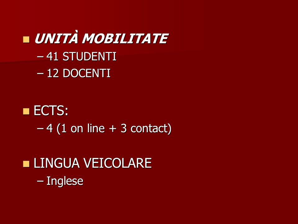 UNITÀ MOBILITATE UNITÀ MOBILITATE –41 STUDENTI –12 DOCENTI ECTS: ECTS: –4 (1 on line + 3 contact) LINGUA VEICOLARE LINGUA VEICOLARE –Inglese