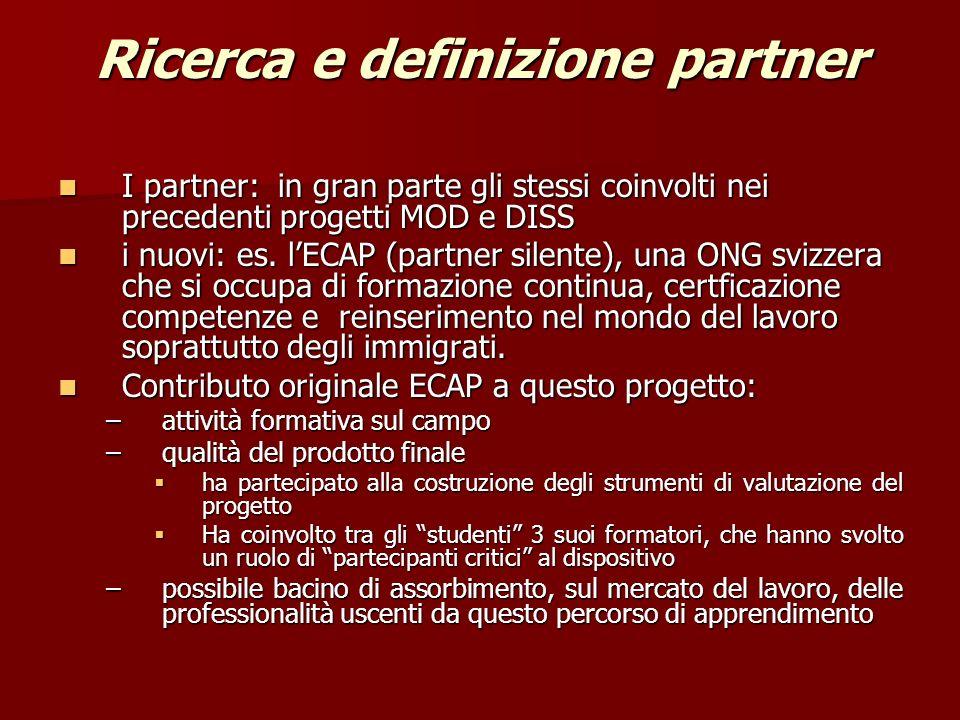 Ricerca e definizione partner I partner: in gran parte gli stessi coinvolti nei precedenti progetti MOD e DISS I partner: in gran parte gli stessi coinvolti nei precedenti progetti MOD e DISS i nuovi: es.