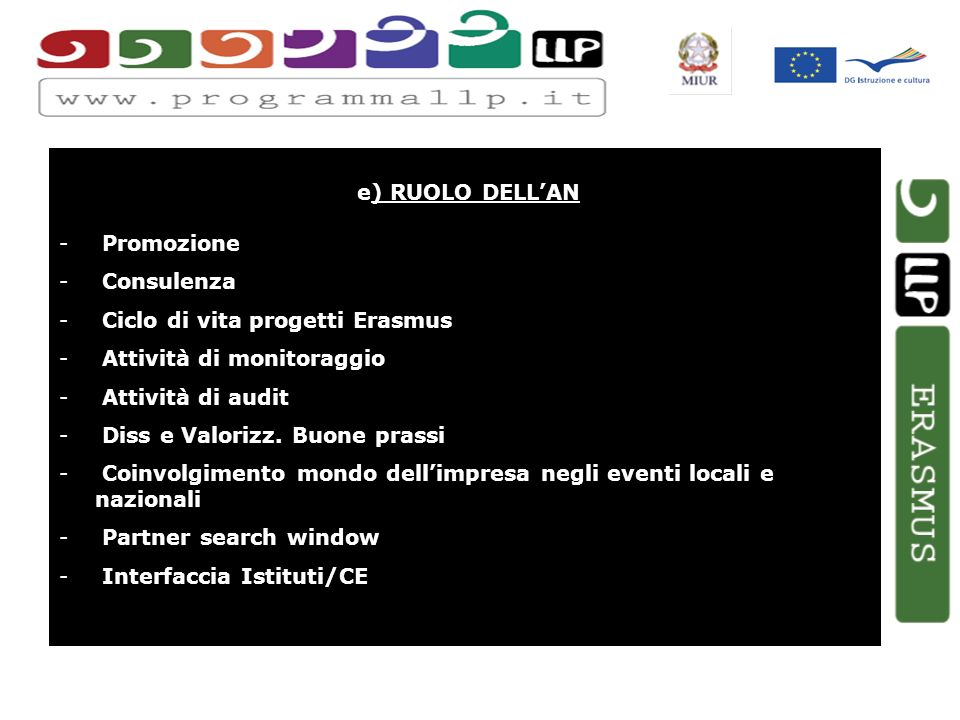 e) RUOLO DELLAN - Promozione - Consulenza - Ciclo di vita progetti Erasmus - Attività di monitoraggio - Attività di audit - Diss e Valorizz.
