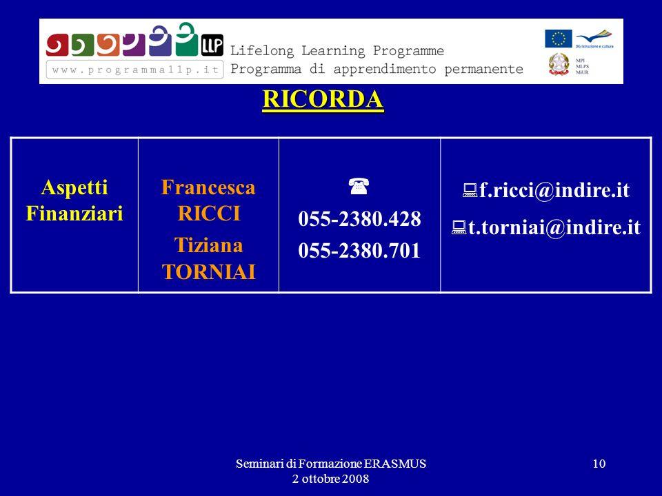 Seminari di Formazione ERASMUS 2 ottobre 2008 10 RICORDA Aspetti Finanziari Francesca RICCI Tiziana TORNIAI 055-2380.428 055-2380.701 f.ricci@indire.it t.torniai@indire.it