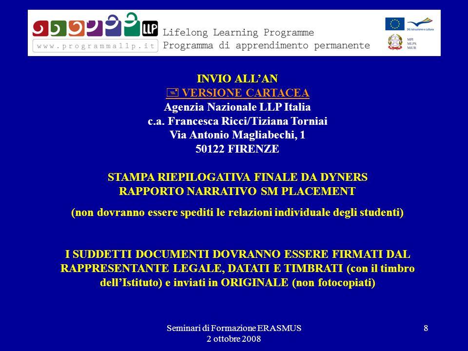 Seminari di Formazione ERASMUS 2 ottobre 2008 8 INVIO ALLAN INVIO ALLAN VERSIONE CARTACEA Agenzia Nazionale LLP Italia c.a.