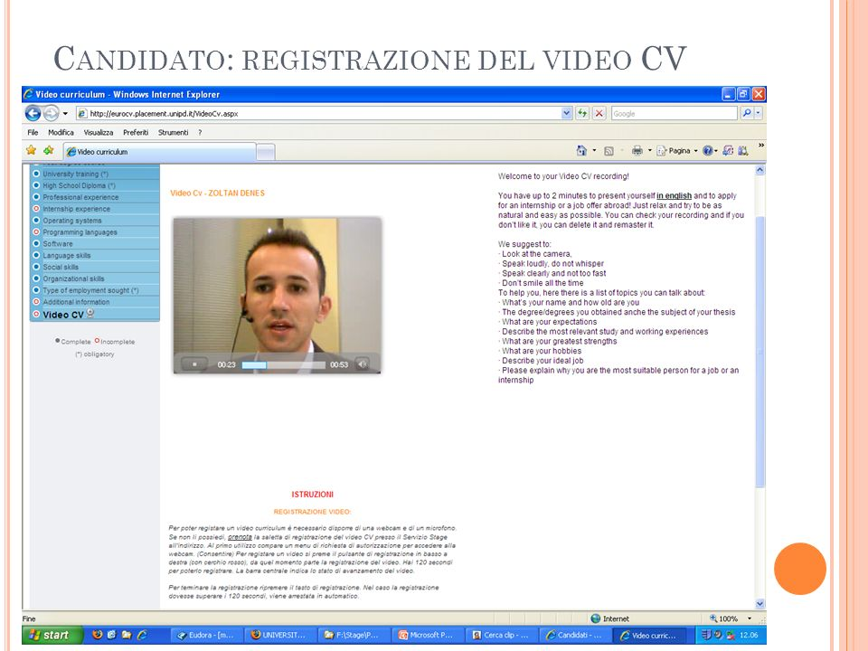 C ANDIDATO : REGISTRAZIONE DEL VIDEO CV
