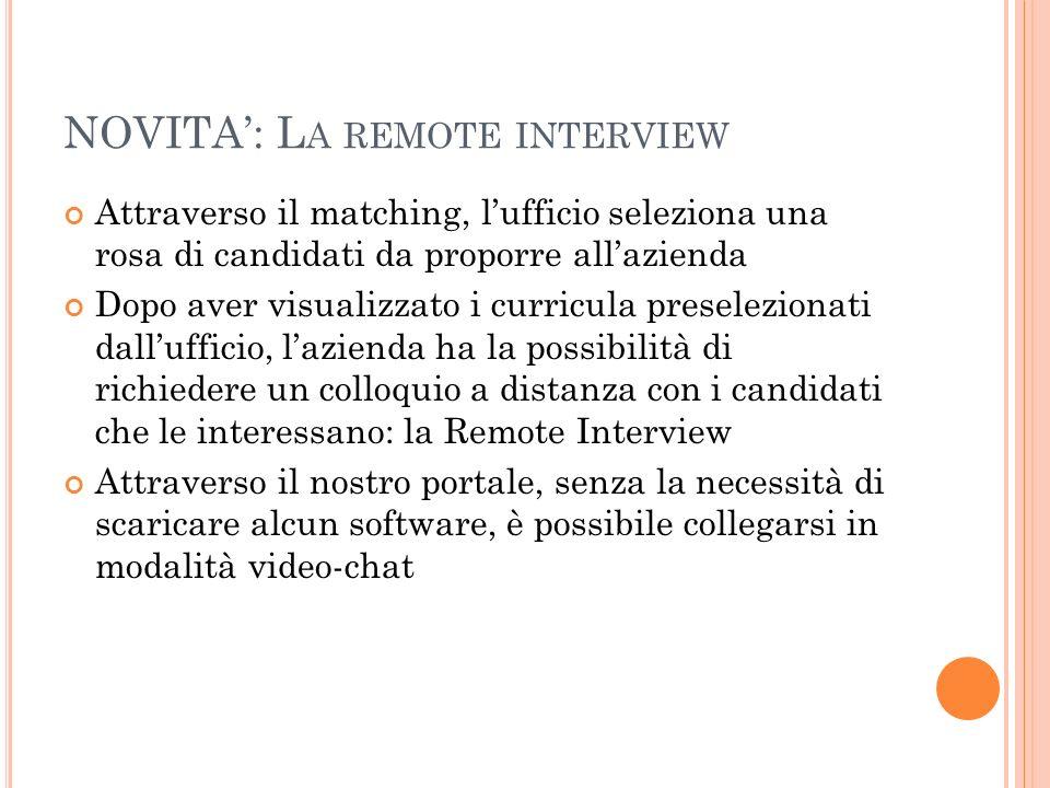NOVITA: L A REMOTE INTERVIEW Attraverso il matching, lufficio seleziona una rosa di candidati da proporre allazienda Dopo aver visualizzato i curricul