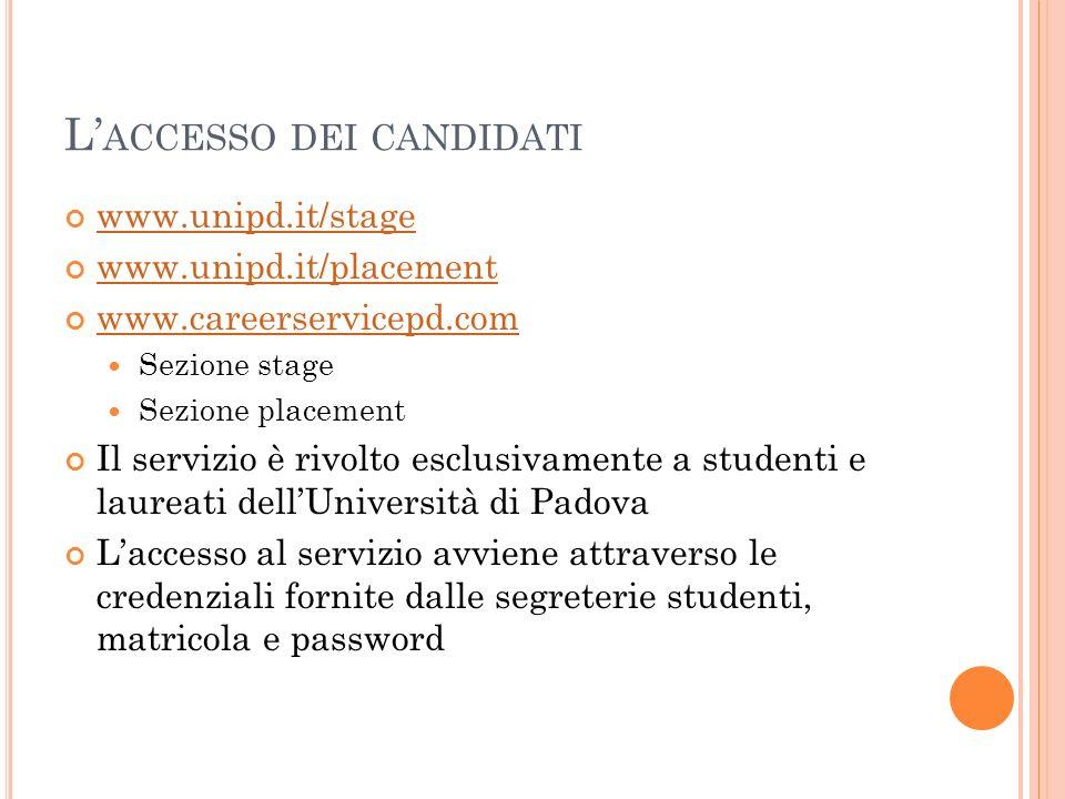 L ACCESSO DEI CANDIDATI www.unipd.it/stage www.unipd.it/placement www.careerservicepd.com Sezione stage Sezione placement Il servizio è rivolto esclus