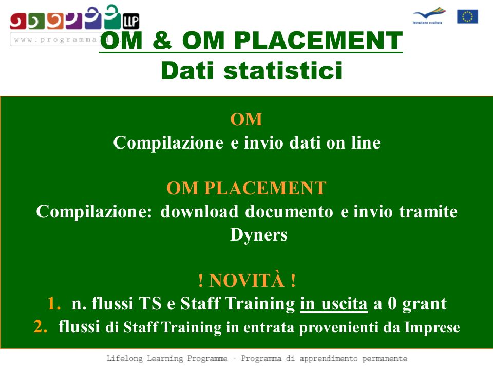 OM & OM PLACEMENT Dati statistici OM Compilazione e invio dati on line OM PLACEMENT Compilazione: download documento e invio tramite Dyners ! NOVITÀ !