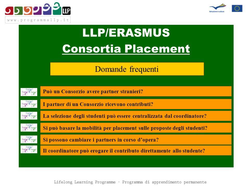 LLP/ERASMUS Consortia Placement Domande frequenti Può un Consorzio avere partner stranieri.