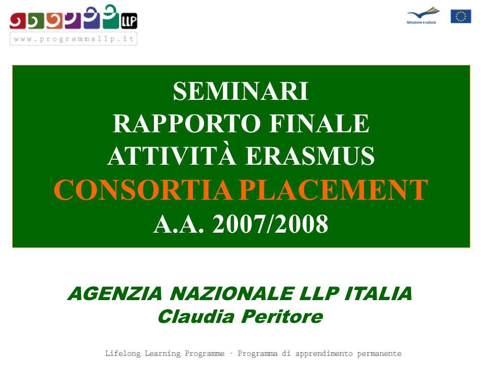 SEMINARI RAPPORTO FINALE ATTIVITÀ ERASMUS CONSORTIA PLACEMENT A.A. 2007/2008 AGENZIA NAZIONALE LLP ITALIA Claudia Peritore