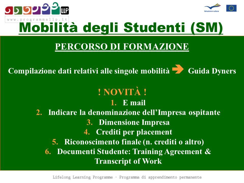Mobilità degli Studenti (SM) PERCORSO DI FORMAZIONE Compilazione dati relativi alle singole mobilità Guida Dyners ! NOVITÀ ! 1.E mail 2.Indicare la de