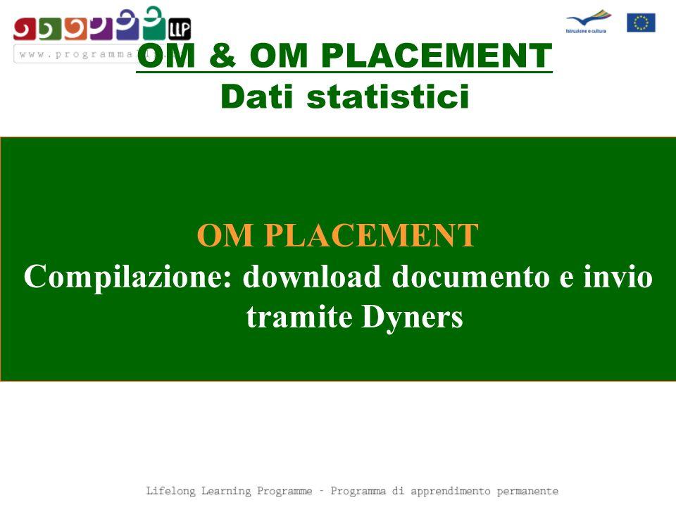 OM & OM PLACEMENT Dati statistici OM PLACEMENT Compilazione: download documento e invio tramite Dyners