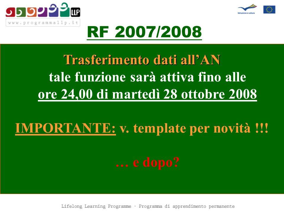 RF 2007/2008 Trasferimento dati allAN tale funzione sarà attiva fino alle ore 24,00 di martedì 28 ottobre 2008 IMPORTANTE: v. template per novità !!!