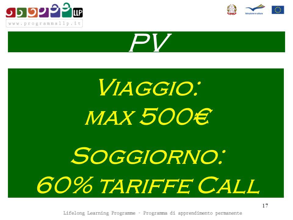 17 Viaggio: max 500 Soggiorno: 60% tariffe Call PV