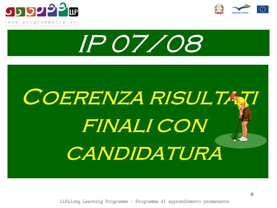 9 Coerenza risultati finali con candidatura IP 07/08