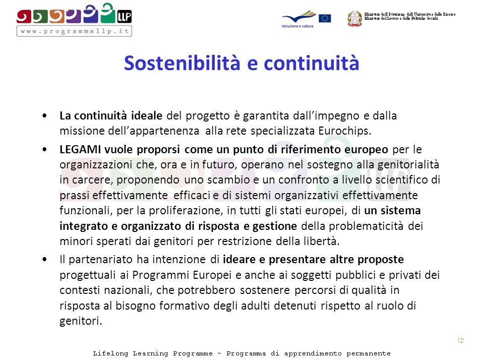 Sostenibilità e continuità La continuità ideale del progetto è garantita dallimpegno e dalla missione dellappartenenza alla rete specializzata Eurochips.