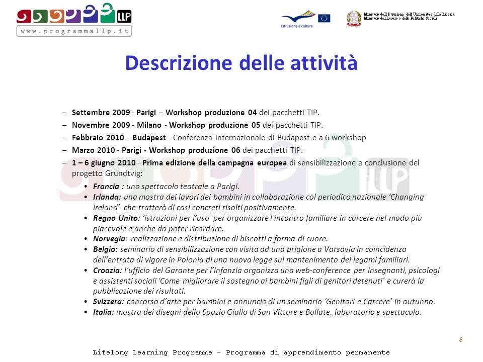 Descrizione delle attività –Settembre 2009 - Parigi – Workshop produzione 04 dei pacchetti TIP.