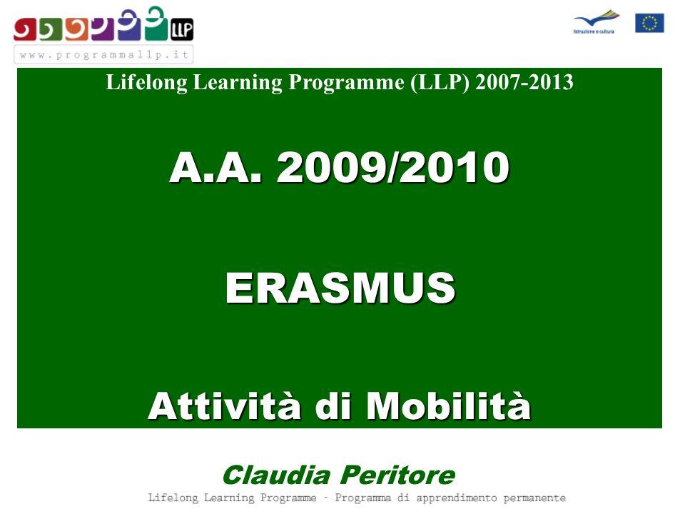 Lifelong Learning Programme (LLP) 2007-2013 A.A. 2009/2010 ERASMUS Attività di Mobilità Claudia Peritore