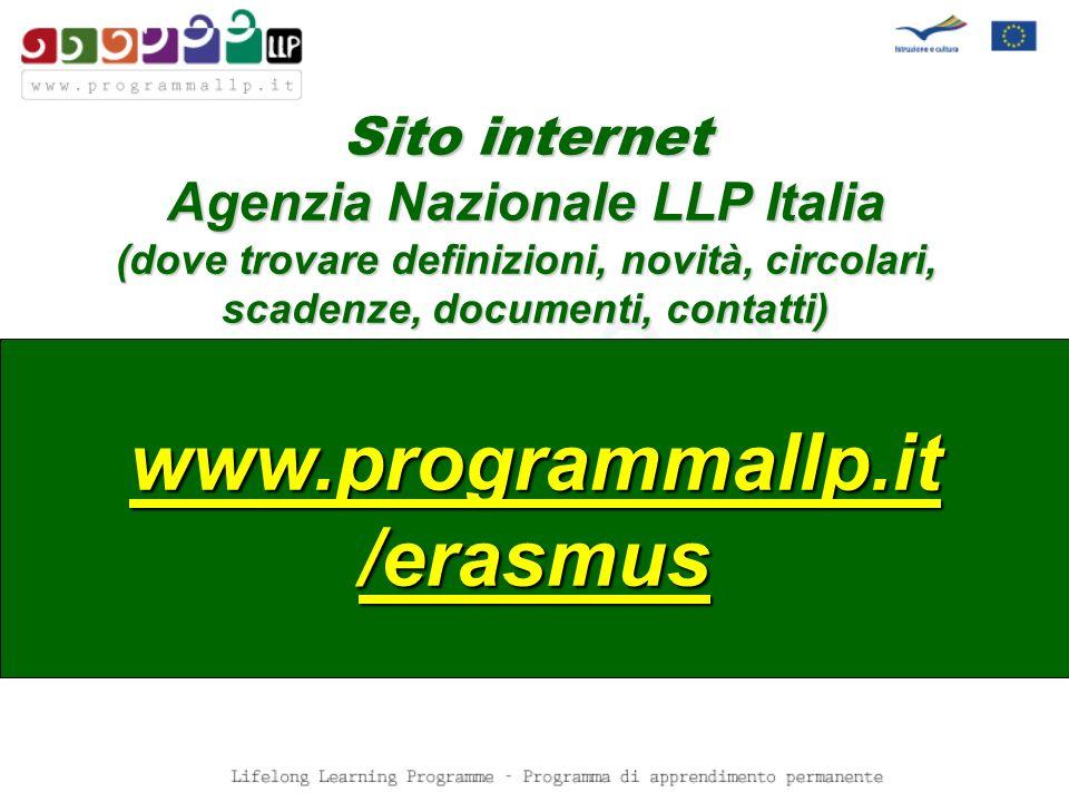 Sito internet Agenzia Nazionale LLP Italia (dove trovare definizioni, novità, circolari, scadenze, documenti, contatti) www.programmallp.it /erasmus