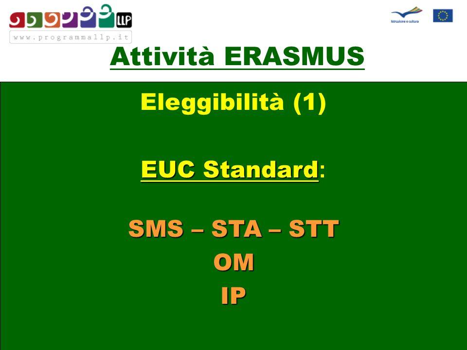 Attività ERASMUS Eleggibilità (1) EUC Standard Standard : SMS – STA – STT OM IP