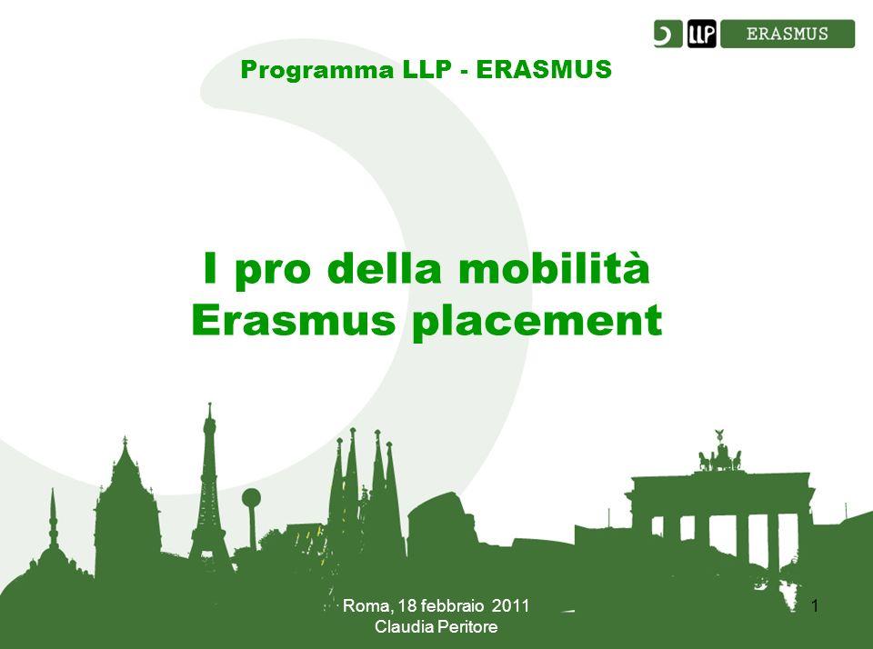 Roma, 18 febbraio 2011 Claudia Peritore 1 Programma LLP - ERASMUS I pro della mobilità Erasmus placement