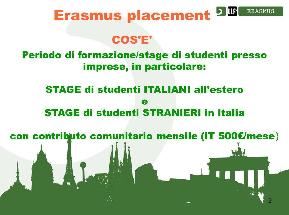 2 COS E Periodo di formazione/stage di studenti presso imprese, in particolare: STAGE di studenti ITALIANI all estero e STAGE di studenti STRANIERI in Italia con contributo comunitario mensile (IT 500/mese )