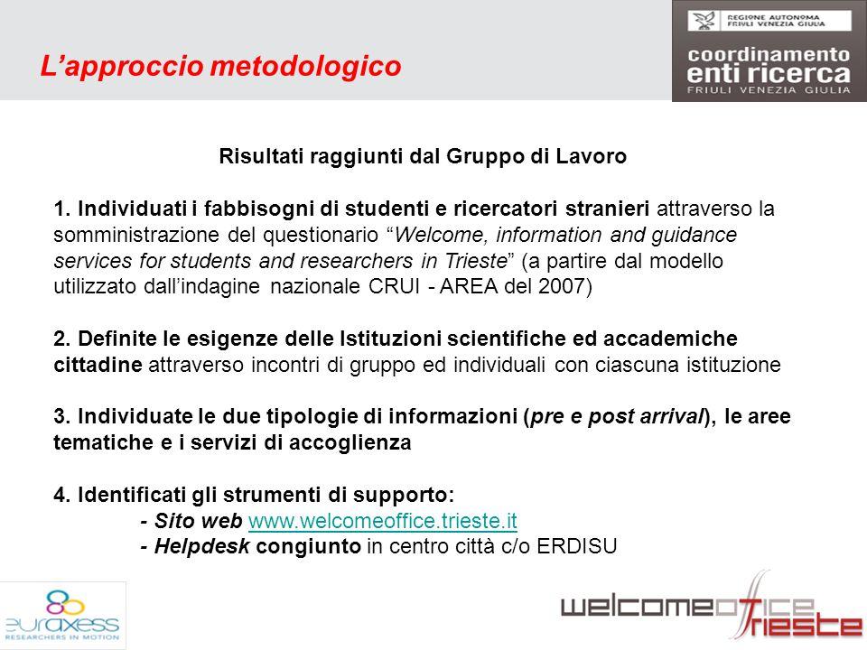 5 Lapproccio metodologico Risultati raggiunti dal Gruppo di Lavoro 1.