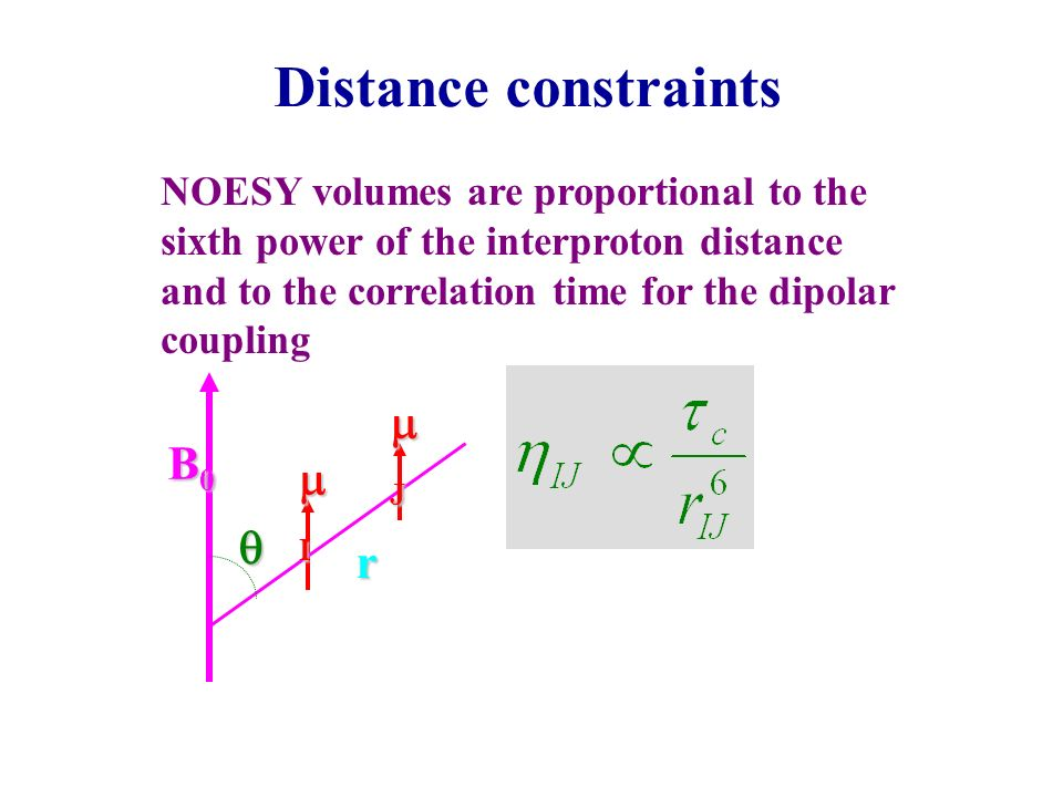 Distance constraints NOESY volumes are proportional to the sixth power of the interproton distance and to the correlation time for the dipolar couplin