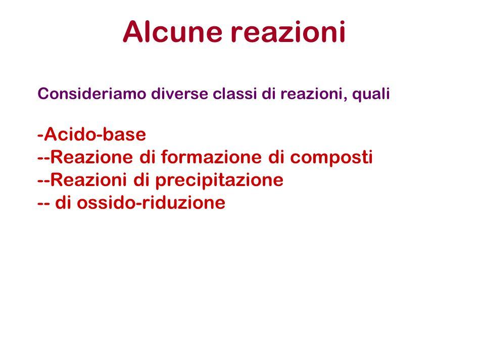 Alcune reazioni Consideriamo diverse classi di reazioni, quali -Acido-base --Reazione di formazione di composti --Reazioni di precipitazione -- di oss