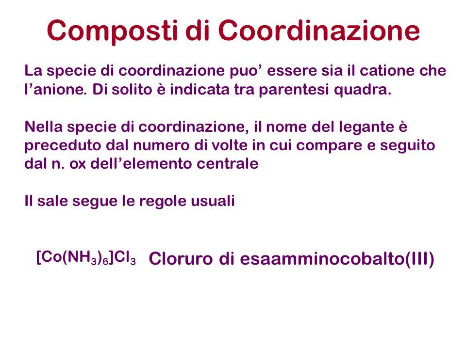 Composti di Coordinazione La specie di coordinazione puo essere sia il catione che lanione. Di solito è indicata tra parentesi quadra. Nella specie di