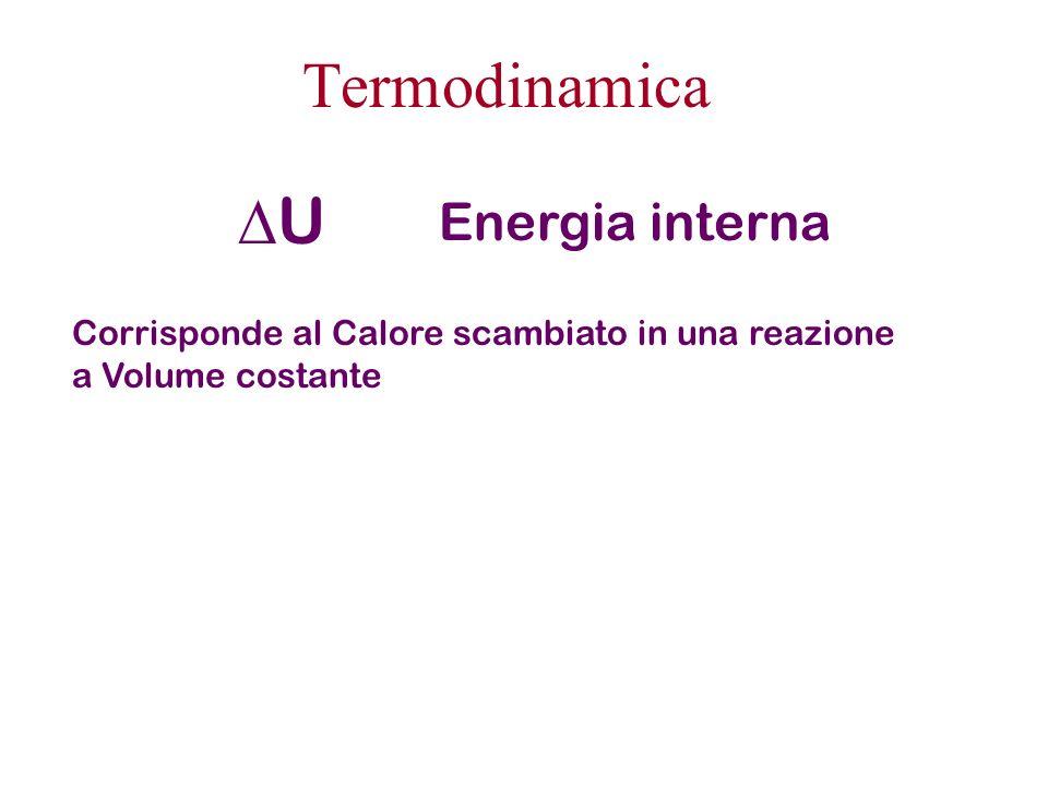 Termodinamica U Energia interna Corrisponde al Calore scambiato in una reazione a Volume costante
