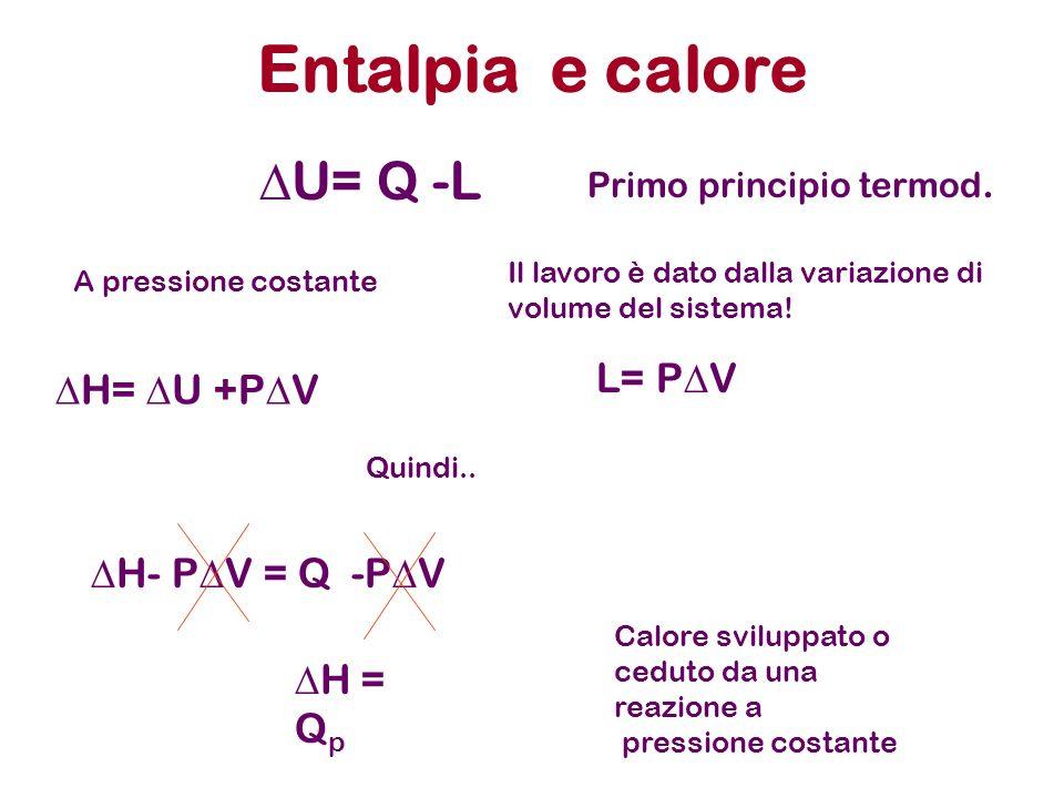 Entalpia e calore U= Q -L A pressione costante H- P V = Q -P V Primo principio termod. Il lavoro è dato dalla variazione di volume del sistema! L= P V