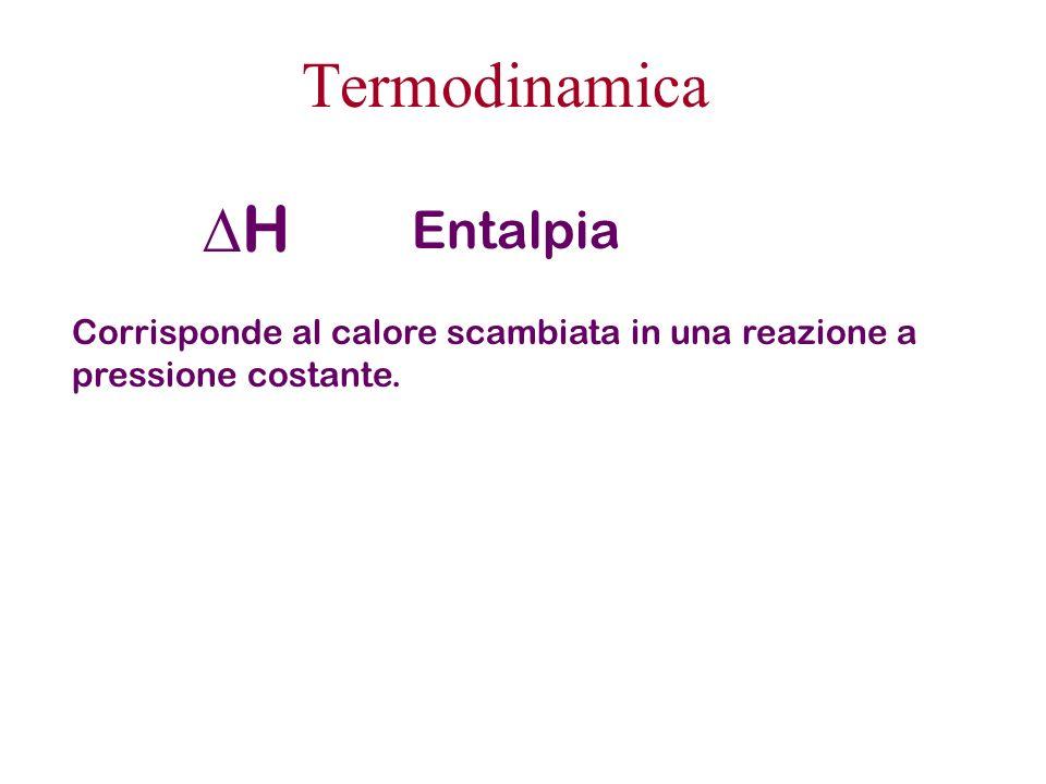 Termodinamica H Entalpia Corrisponde al calore scambiata in una reazione a pressione costante.