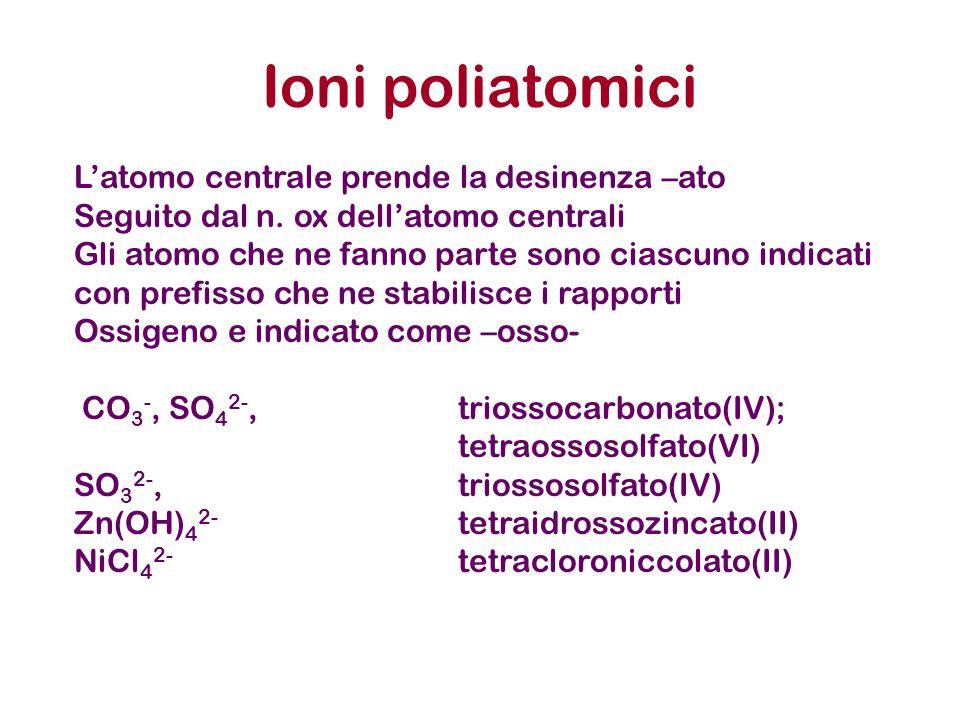 Ioni poliatomici Latomo centrale prende la desinenza –ato Seguito dal n. ox dellatomo centrali Gli atomo che ne fanno parte sono ciascuno indicati con