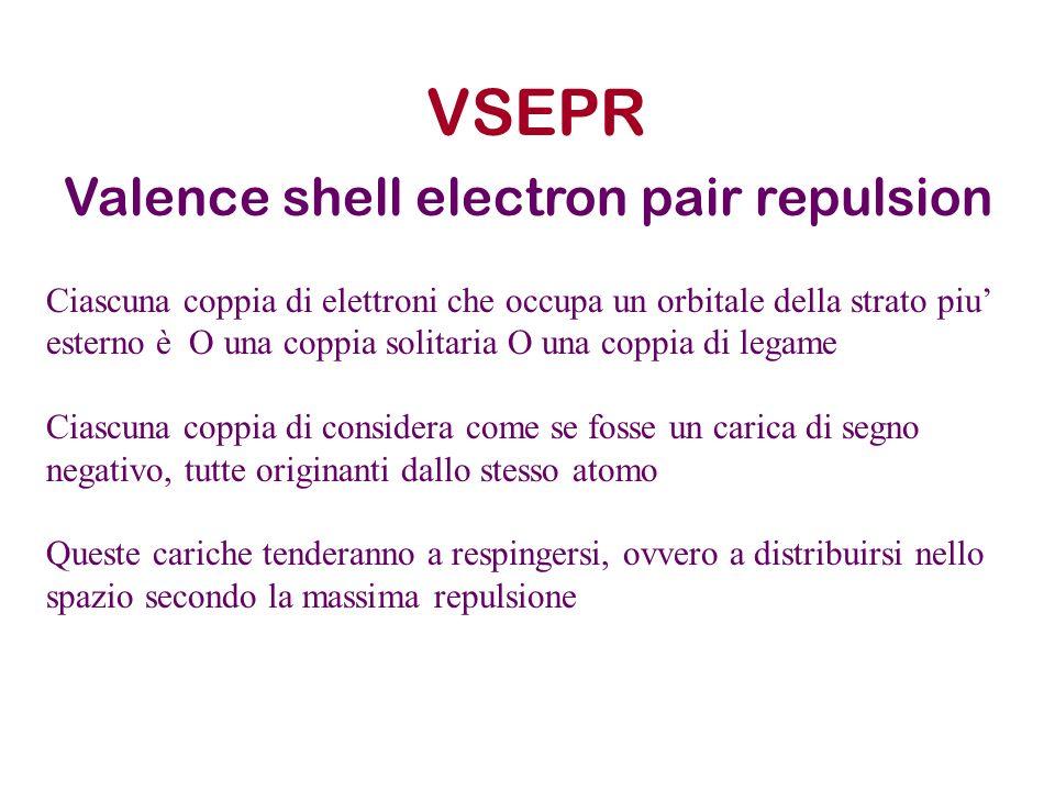 VSEPR Valence shell electron pair repulsion Ciascuna coppia di elettroni che occupa un orbitale della strato piu esterno è O una coppia solitaria O un