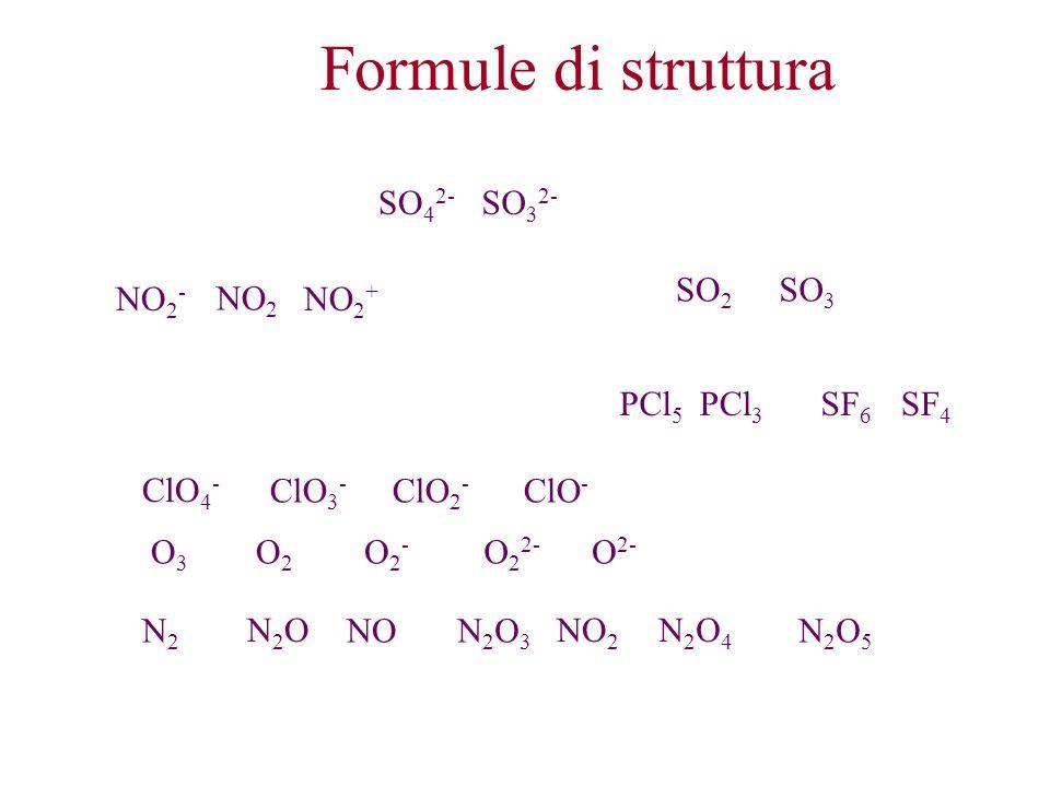 Formule di struttura SO 2 SO 3 NO 2 - PCl 5 NO 2 NO 2 + SO 4 2- SO 3 2- PCl 3 SF 6 SF 4 ClO 4 - ClO 3 - ClO 2 - ClO - O2O2 O2-O2- O 2 2- O 2- O3O3 N2O