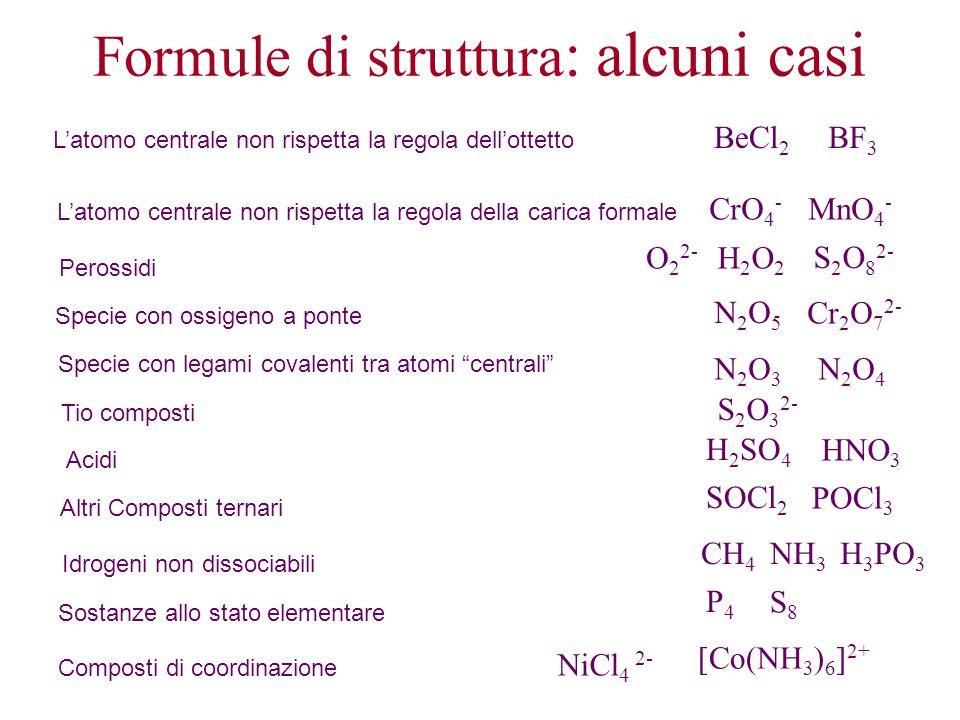 Formule di struttura : alcuni casi Latomo centrale non rispetta la regola dellottetto BeCl 2 BF 3 Latomo centrale non rispetta la regola della carica