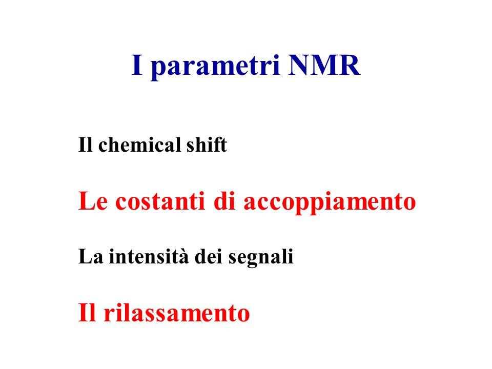 I parametri NMR Il chemical shift Le costanti di accoppiamento La intensità dei segnali Il rilassamento