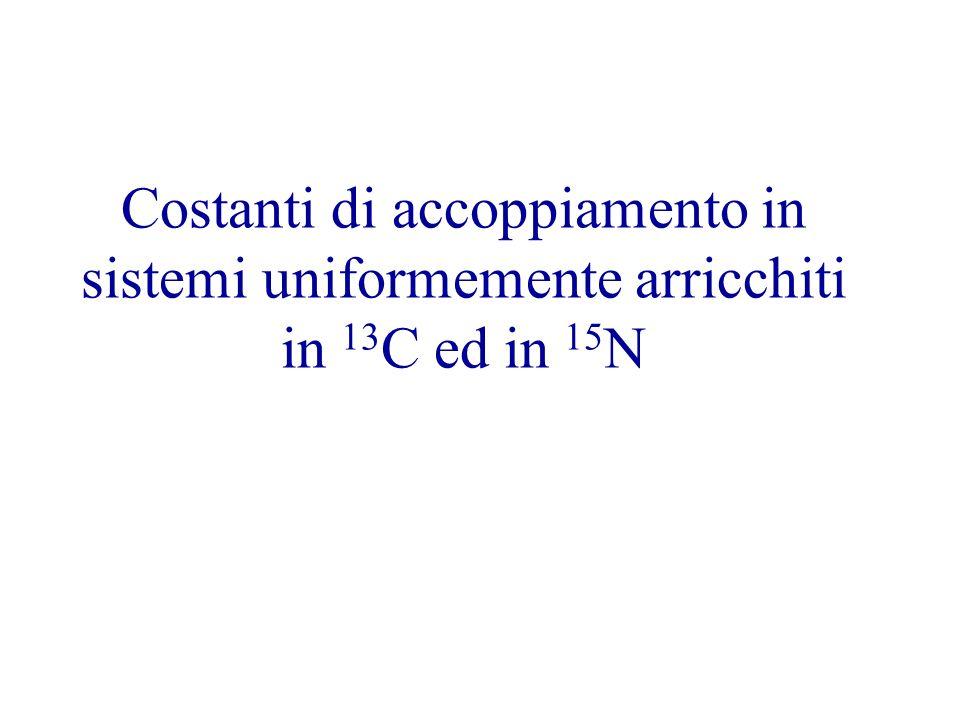 Costanti di accoppiamento in sistemi uniformemente arricchiti in 13 C ed in 15 N